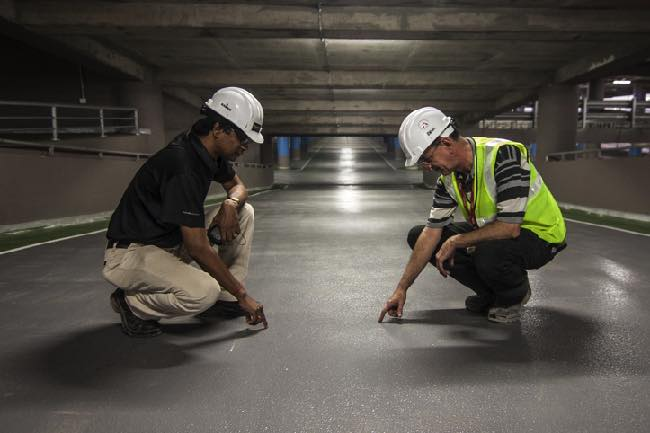 Image of safety officers checking road